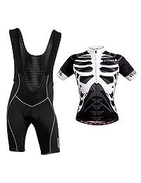 Prettyia Professional Men Cycling Bib Shorts & Skeleton Jersey Top Bicycle Clothing