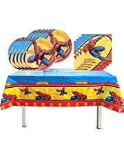 Spiderman Birthday Party Supplies,Includes 16 Paper Plates - 16 Napkin - Table Cloth for Boys Superhero Theme Party Decoration Serves 16 Guest