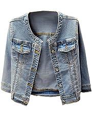 Denim Jackets Trendy XU Washed Three Quarter Sleeve Stretch Collarless Short Jeans Coat