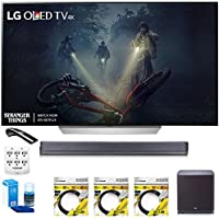 LG 65' C7 OLED 4K HDR Smart TV (OLED65C7P) with Hi-Resolution Sound Bar, 3x 6ft HDMI Cable, Universal Screen Cleaner for LED TVs, 6 Outlet Wall Tap w/ 2 USB Ports & 6ft Optical Audio Cable