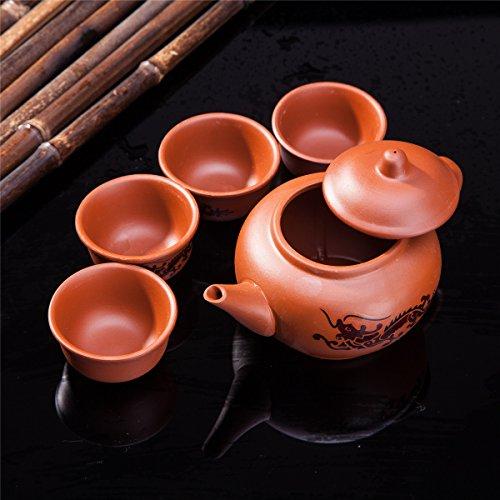 Exquisite 5 PCS Asian Dragon Design Purple Clay Tea Pot Tea Cups Set In Gift Box