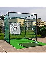 Large Heavy Duty Golf Net, 3x3m Golf Practice Net for Indoor Outdoor Garage Backyard, Portable Golf Hitting Net (with Golf Mat and Bullseye Cloth)
