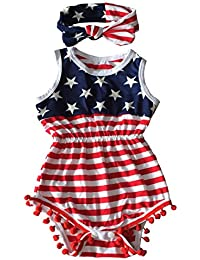 4th of July Toddler Baby Girl American Flag Tassel Romper with Headband