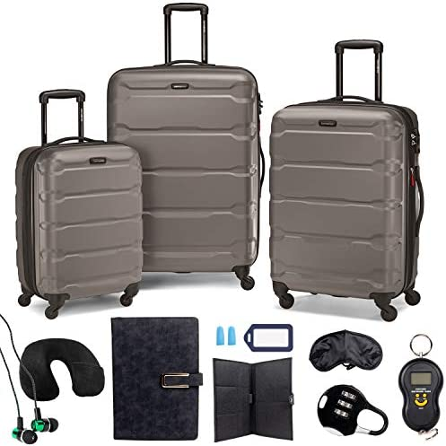 Samsonite Omni Hardside Nested Luggage Spinner Set, Silver w/ 10pc Accessory Kit