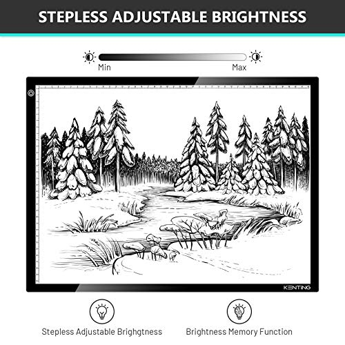 KENTING A3 Drawing Light Board, USB Power Sketch Light Pad with Stepless Adjustable Brightness, Ultra-Thin 0.2inches Copy Board for Diamond Art, Tracing, Tattoo Drawing, Sketching, Animation, Drawing