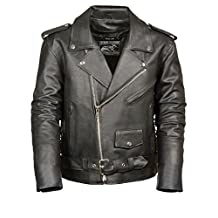 Event Biker Leather Men's Basic Motorcycle Jacket with Pockets