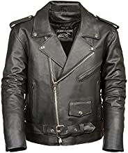 Event Biker Leather Men's Basic Motorcycle Jacket with Poc