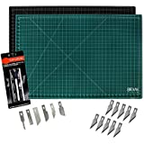 Cutting Mat & Craft Knife Set - Deluxe Package With Premium 12x18 Self Healing Cutting Mat Precision 7 Piece Craft Hobby Knife Set & 10 Replaceable Craft Blades Perfect for Arts and Crafts of All Kind