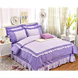 GL&G European cotton cashmere princess wind activity printing and dyeing twill soft breathable low allergic bed high-grade four-piece (quilt Cover × 1PC, Bed Sheet × 1PC, Pillowcase × 2PCS),A5,1.5m(5ft) bed