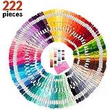 Juego de 222 hilos para hacer brazaletes de amistad, excelente para costura, punto de cruz, manualidades, tarjeta de color DMC y agujas incluidas, regalo ideal para niñas