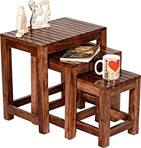 Zivanto Sheesham Wood Nesting Tables for Living Room | Wooden Stool | Bedside End Table | Set of 3 | Honey Brown Finish