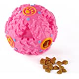 BELIFE Interactive Pet Toy Ball for IQ Treat and Food Dispenser for Small/Medium/Large Dog & Cat,Pet Puzzle Slow Feeder Made by Nontoxic Themoplastic Rubber,Rolling with Sound(Red)