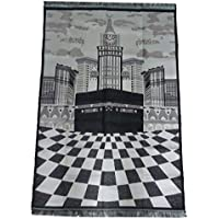 Portable Muslim Prayer Mat with Bag Amn016 Islamic Sajadah Thin Salat Carpet Musallah Eid Ramadan Gift (Light Pink/Black)