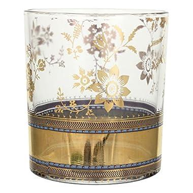 Patina Vie Metallic Lace Cocktail Glass, Gold, Set of 4