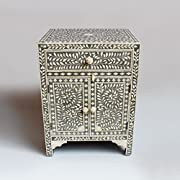 Grey Bone Inlay Modern Antique Handmade Bedside