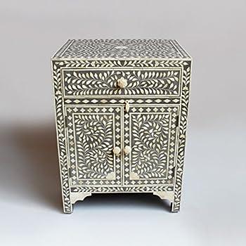 Grey Bone Inlay Modern Antique Handmade Bedside