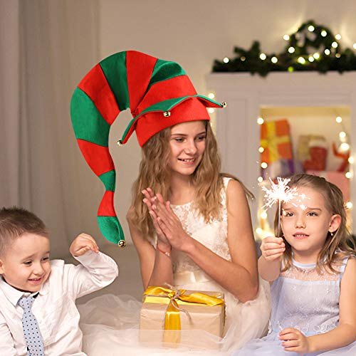 BigOtters Christmas Elf Hat, Novelty Funny Christmas Hat Long Striped Hat with Bells for Kids Adults Holiday Theme Photos Props Christmas Party Favors Red