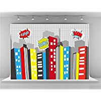 7x5ft-2.2x1.5m Cartoon City Photography Backdrops Colorful Building Backdrop for Superhero Photo Studio Background