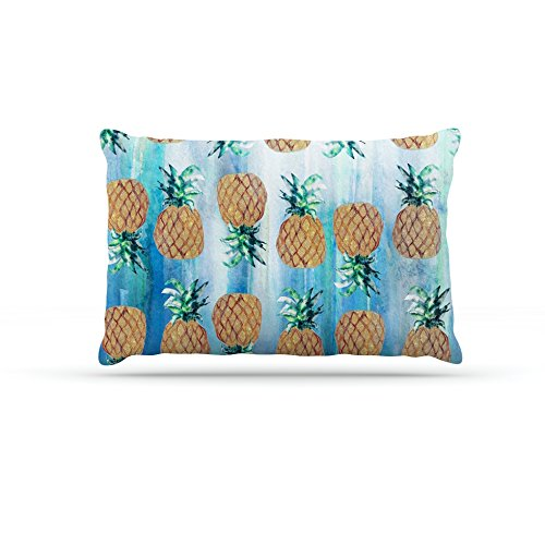 Kess InHouse Nikki Strange Pineapple Beach  Fleece Dog Bed, 50 by 60 , bluee Brown