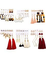 38 Pairs Women Tassel Earrings Jewelry Set Girls Stud Earrings Acrylic Hoop Earrings Drop Dangle Earrings Pearl Maple Leaf Fashion Jewelry for Valentine/Birthday Gift