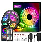 50Ft LED Strip Lights Music Sync Color Changing RGB