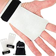KAYANA 3 Hole Leather Gymnastics Hand Grips - Palm Protection and Wrist Support for Cross Training, Kettlebell