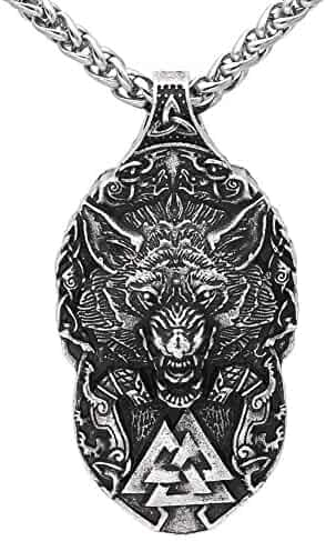 Aooaz Stainless Steel Necklace for Men Two Wolf Head Cross Gothic Necklace Silver Length 6.1Cm
