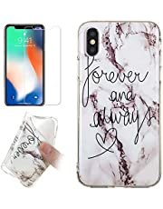 for iPhone XR Marble Case and Screen Protector,Unique Pattern Design Ultra Thin Slim Fit Soft Silicone Phone Case Bumper,QFFUN Shockproof Anti-Scratch Protective Back Cover - Words