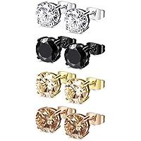 FIBO STEEL 4 Pairs Stainless Steel Round Stud Earrings for Men Women Ear Piercing Earrings Cubic Zirconia Inlaid,3-8mm