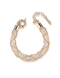 Mytys Fashion Bracelet Mesh Crystal Bracelets Rose Gold Bangle for Women Girl