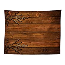 vipsung Rustic Tablecloth Decor Antique Backdrop with Carved Dated Gothic Metal Ornaments Retro Fashioned Picture Dining Room Kitchen Rectangular Table Cover Dark Rosewood