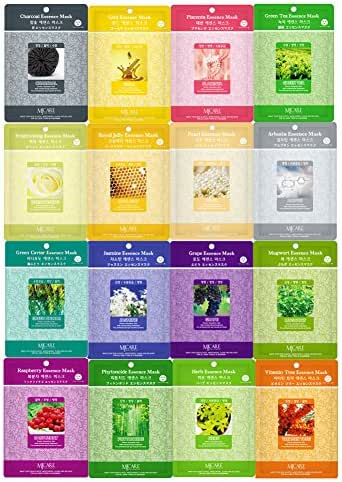 Pack of 16, The Elixir Beauty Concentrated Collagen Essence Whitening & Nutrients Full Face Mask Pack Sheet