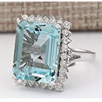 Saengthong Women Fashion 925 Sliver Emerald Cut Aquamarine Gemstone Wedding Ring Jewelry (6)