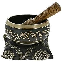 Buddhist Singing Bowl Meditation Tibetan Golden and Black Art Décor 4 Inch