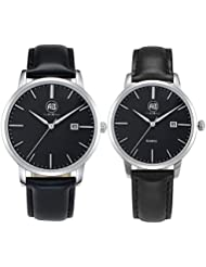 AIBI Couple Lovers Elegant Classic Analog Quartz Black Wrist Watches With Date