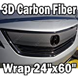 "24"" X 50"" 3D CARBON FIBER EXTERIOR WRAP SHEET VINYL DECAL JDM CAR NEW STICKER"