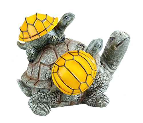 (Solar Powered 2 Baby Turtles on Mama Turtle Outdoor Accent Lighting LED Garden Light Decor)