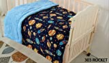 Elegant Home Kids Soft & Warm Solar Space Ships & Rockets Universe Galaxy Stars Sherpa Baby Toddler Boy Blanket Printed Borrego Stroller or Baby Crib or Toddler Bed Blanket Plush Throw 40X50 (Rocket)