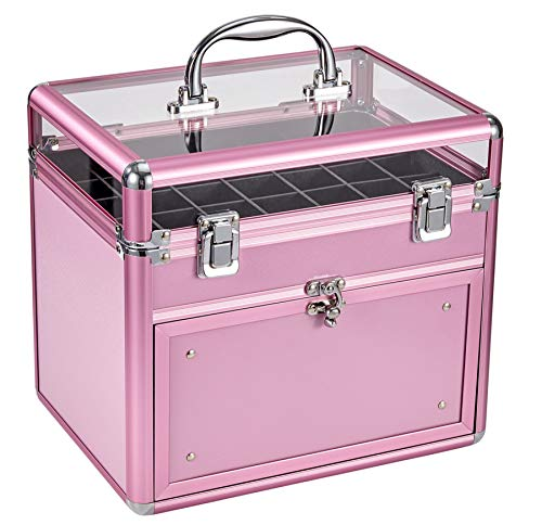 Nail Polish Case With Drawer and Dividers Makeup Travel Case Portable Cosmetic Organizer (Pink)