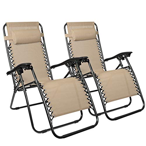Flex HQ Zero Gravity Chairs Recliner Lounge Patio Chairs Set of 2 Tan ()