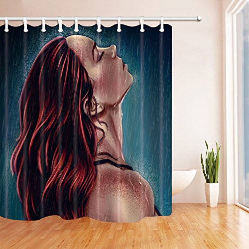 Beautiful Woman Shower Curtain Sexy Long Hair Beauty Comic Character Bathroom Curtains 70 x 70 Inches Waterproof Mildew Polyester Fabric Supplies Hanging Curtains Include Hooks Dark