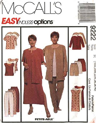 MCCALLS PATTERN 9222 WOMEN'S UNLINED JACKET, DRESS, TOP, PANTS AND SHORTS SIZE H 22W-26W 40, 42, 44