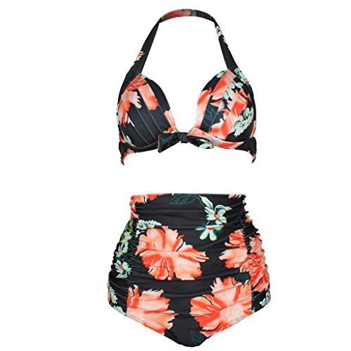 QinYing Sexy Women Flower High Waist Plus Size Bikini Set Black XXL