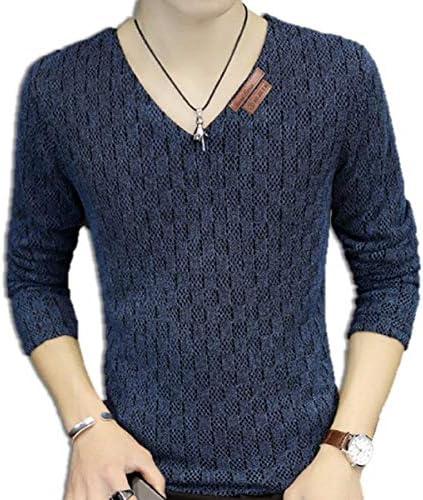 [ウルークレア] メンズ ロング スリーブ vネック シャツ カジュアル メッシュ 編み T シャツ