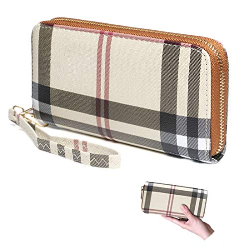 Wallets for Women Leather Wristlet Wallet Zipper Around Clutch RFID with Card Holder Organizer (white)