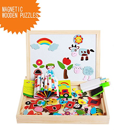 BigNoseDeer Magnetic Wooden Puzzles Double Sided Dry Erase Magnetic Drawing Board Educational Toys for Kids Ltd La116-Farm Animals