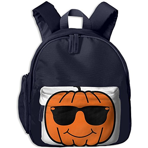Pumpkin With Sunglasses School Backpacks For Children Girls Boys Oxford Printed With Front Pocket - Sunglasses Government