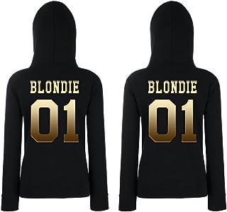 TRVPPY 2X Donna Maglione Felpa con Cappuccio Hoodie Set Modello Blondie & Brownie