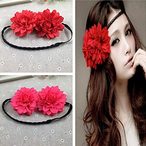 031 Bride seaside peony flower hair wig braids lead flower garland headband hair accessories headdress holiday for women girl lady (Style Bride Dress Peony)