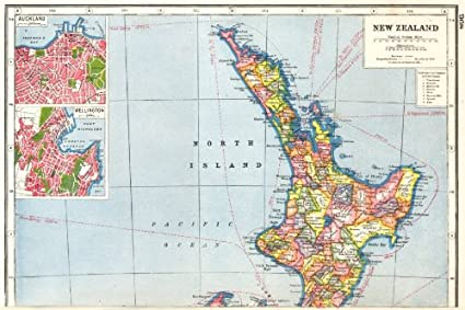 Map Of New Zealand Auckland.Amazon Com New Zealand North Island Inset Plans Of Auckland